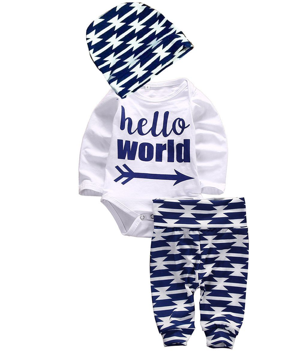 00208736038f Baby Boys Girls Long Sleeve Hello World Bodysuit and Pants Outfit with Hat  (9M, White B) -- Awesome products selected by Anna Churchill