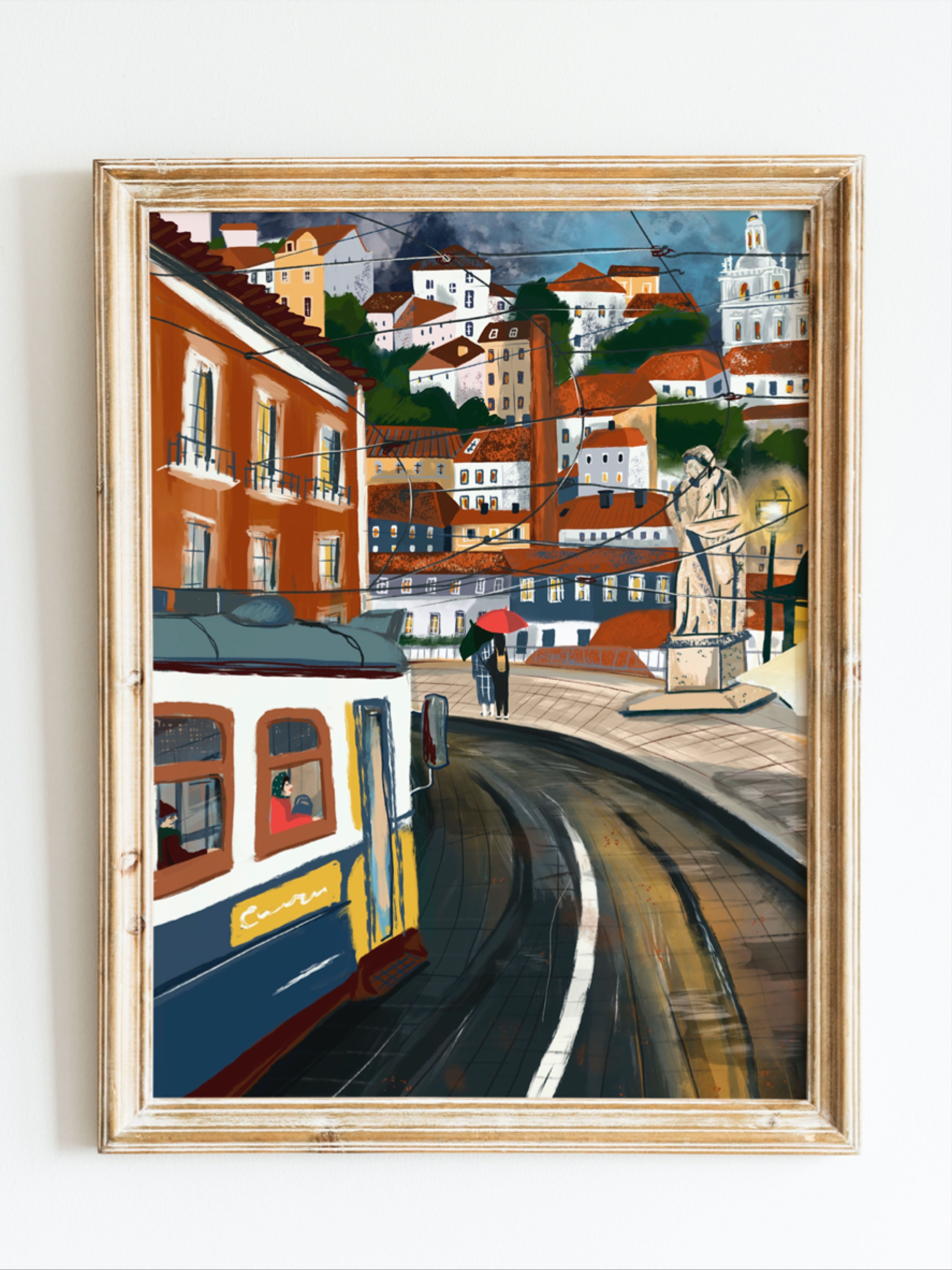 Lisbon Wall Art Lisbon Tram Wall Decor Portugal Art Lisbon Cityscape Poster Lisbon City Poster Poster Prints Art Wall Art