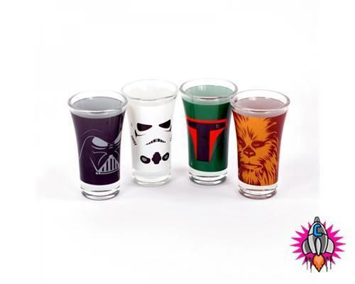 Official Disney Star Wars Set Of 4 Party Shot Glasses New Gift