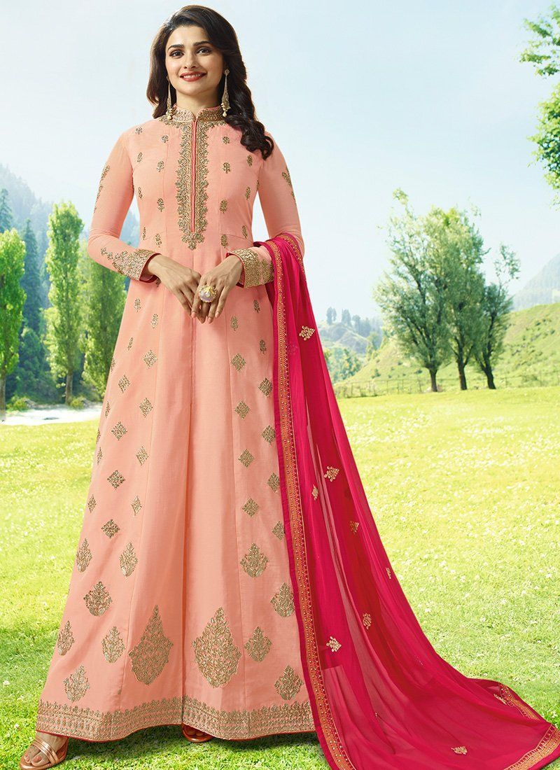 659a6a330c Floor Length Abaya Style Kameez in Peach | Abaya Style Suits in 2019 ...
