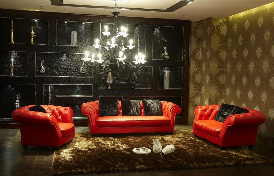 Red, black and gold living room | Home Design | Leather living room ...