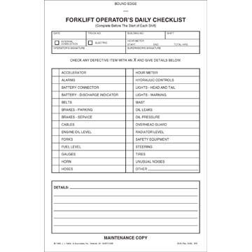 Forklift Operator Daily Checklist Book Format W Carbon