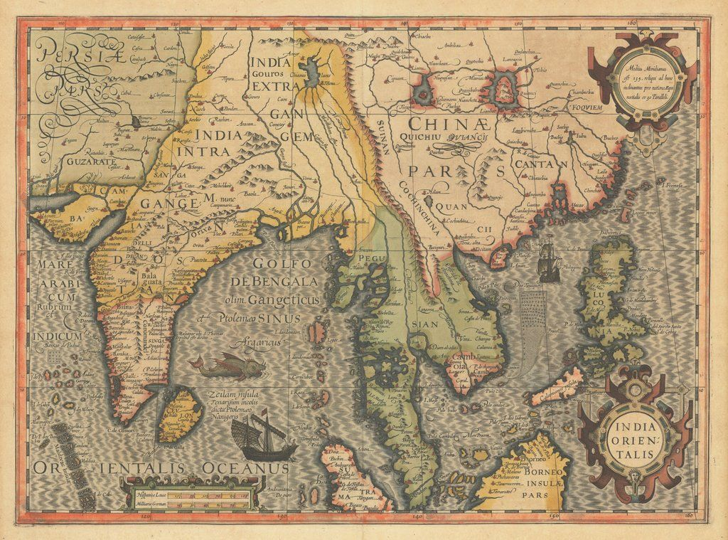 20x28 Southeast Asia 1613 Vintage Style Illustrated Colored Map