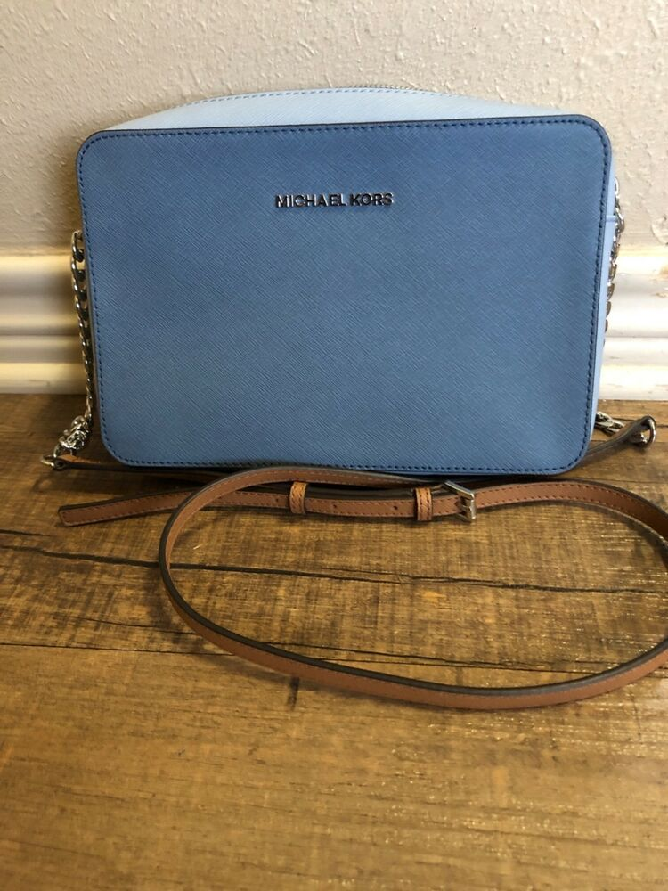 a710857624ba7 Michael Kors Jet Set Travel Crossbody Purse Leather Pale Blue New  fashion   clothing  shoes  accessories  womensbagshandbags (ebay link)