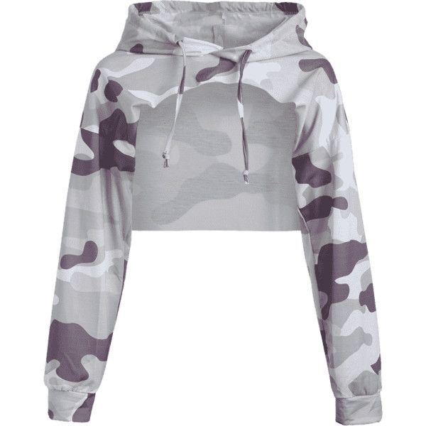 d66771378fba5 Cut Out Camouflage Crop Hoodie Camouflage S ( 16) ❤ liked on Polyvore  featuring tops