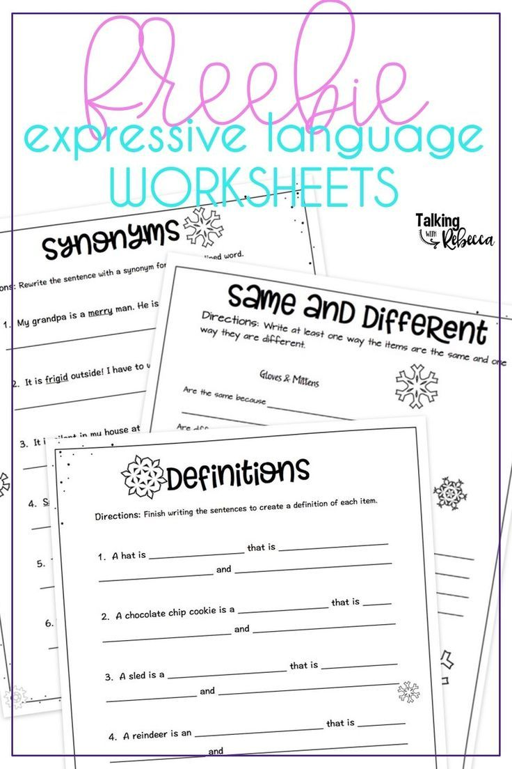Freebie Expressive Language Worksheets Language Therapy Activities Speech Language Activities Speech Therapy Materials