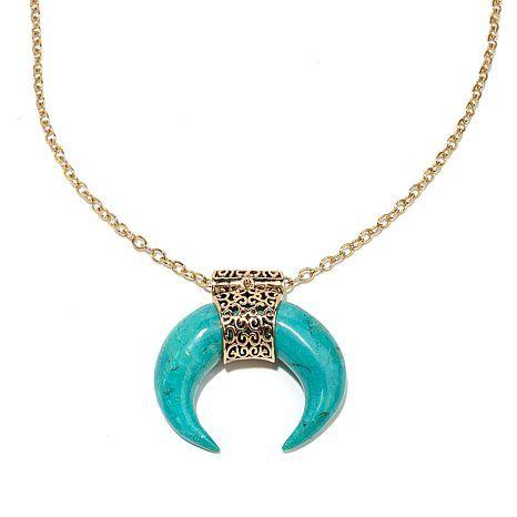 "Studio Barse Gemstone Bronze Curved ""Horn"" Pendant"