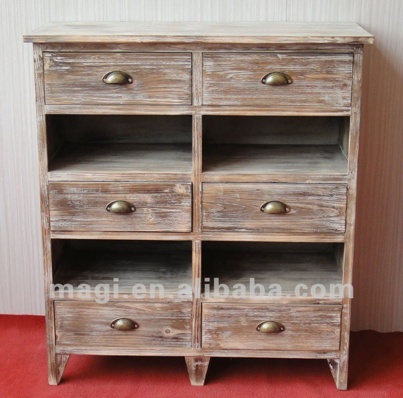 Decorating With Distressed Furniture: Distressed Country Drawers Reclaimed Wood Furniture