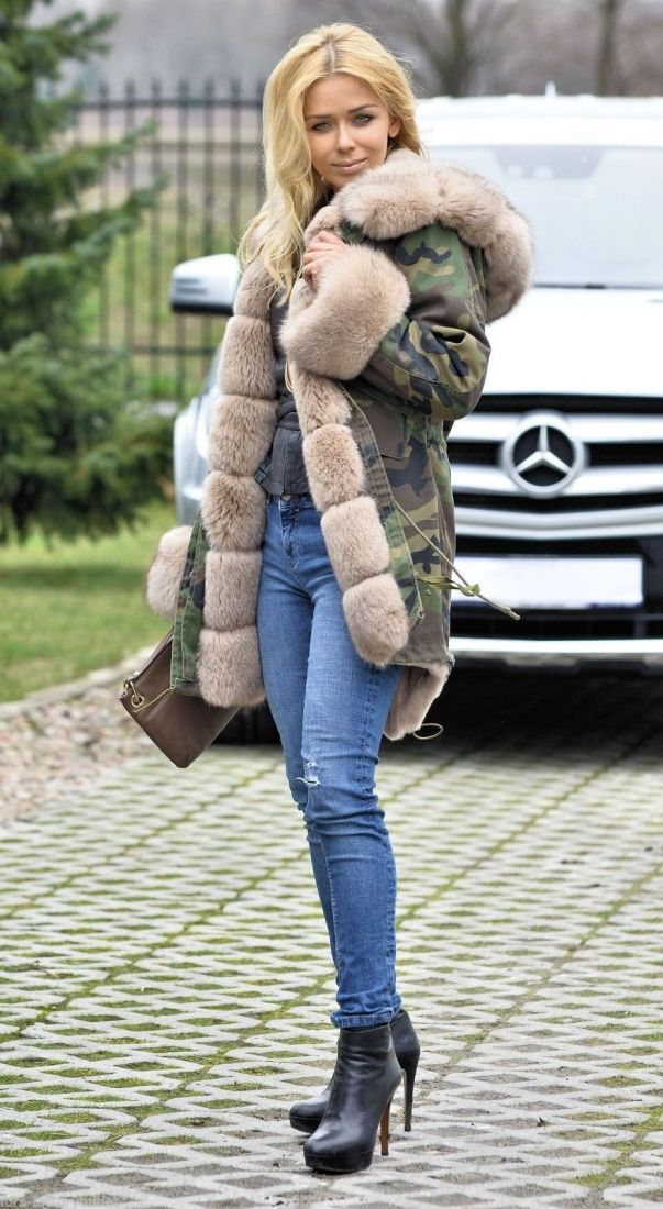 6583d5b631ab american parka with fur - military camouflage parka coat with saga fox fur
