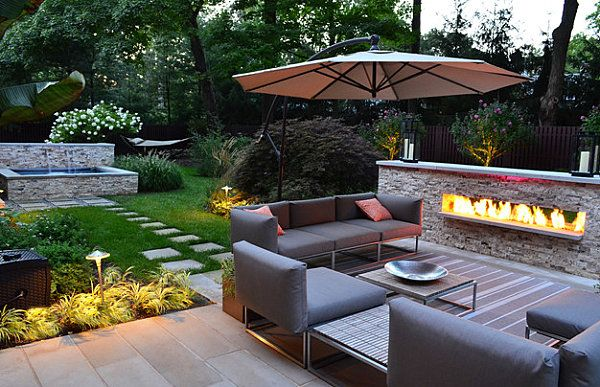 Modern Patio Furniture Implemented For Fresh House Landscape Http Www Ruchide Outdoor Fireplace Designs Modern Outdoor Fireplace Small Backyard Landscaping