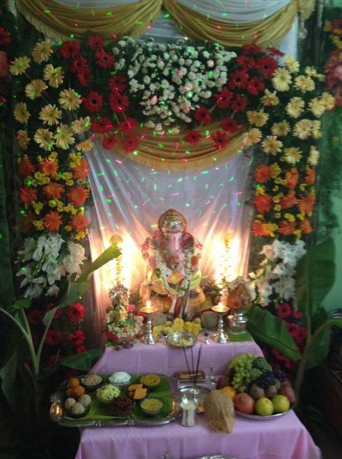 Here are some simple  easy Ganesh Chaturthi decoration ideas for home   These ideas for Ganpati decoration at home are new  fresh  creative and  innovative. pooja decoration on Pinterest   Ganesh  Rangoli Designs and Diwali
