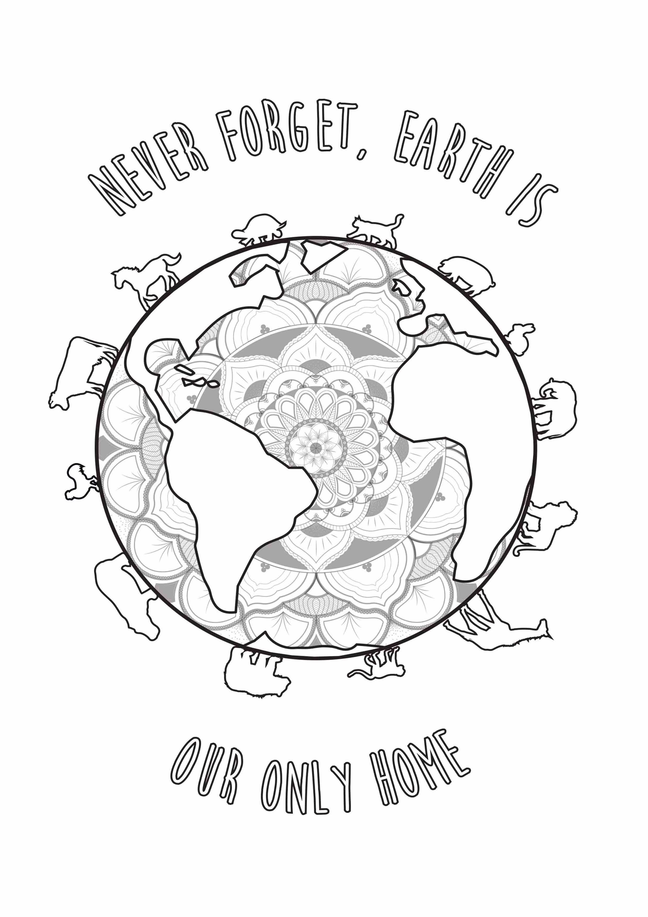 Cute coloring for the Earth Day, with an inspiring quote   From the ...