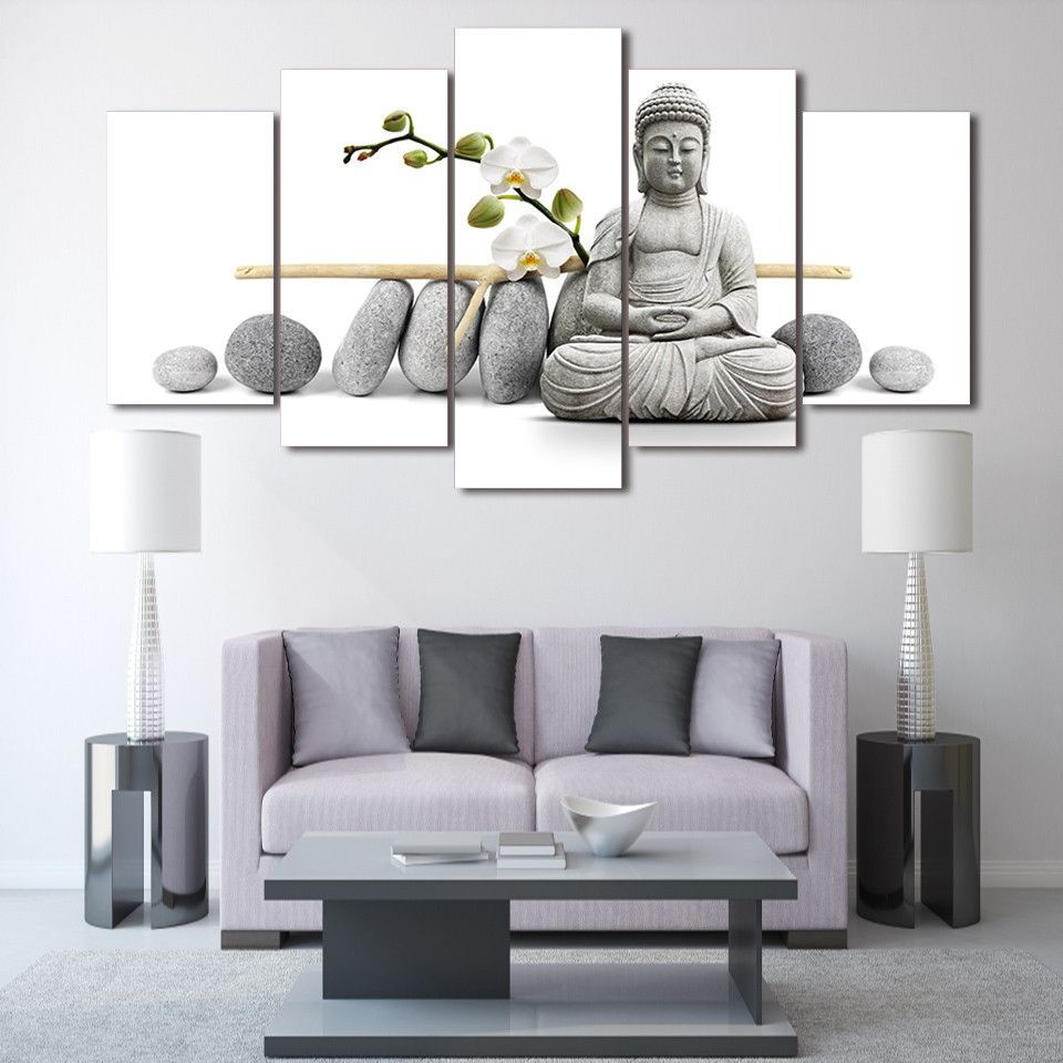 5 Piece Canvas - Minimalist Meditating Buddha White | Minimalist ...