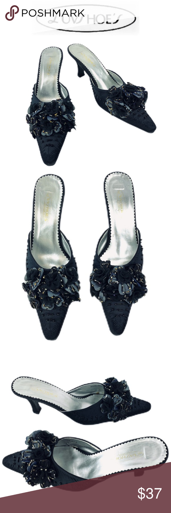 Luvshoe S Rose Black Blue Beaded Floral Heel Luvshoe S Canada Rose Black Blue Beaded Floral Heel Slide Kitten Floral Heels Shoes Women Heels Kitten Heel Pumps