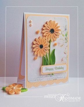 Sweet handmade happy birthday quilling card peach rubber sweet handmade happy birthday quilling card peach stopboris Choice Image