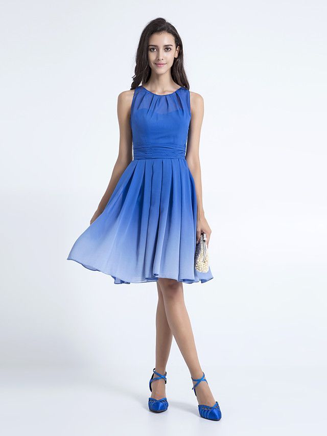 A-Line Scoop Neck Knee Length Chiffon Bridesmaid Dress with Ruched ...