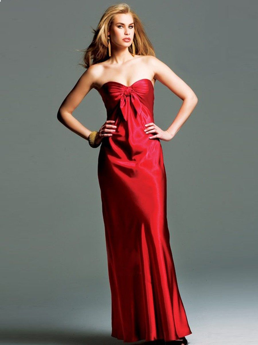 Column sweetheart neckline empire waist bowknot prom dress evening