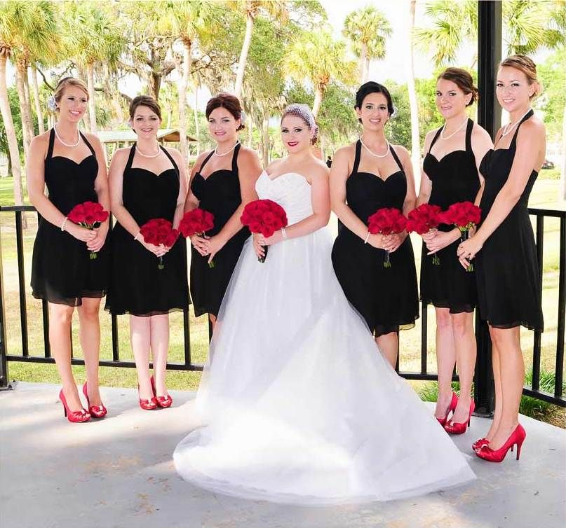 Beautiful Wedding Party Black Dresses With Red Shoes And Roses Updo Hair