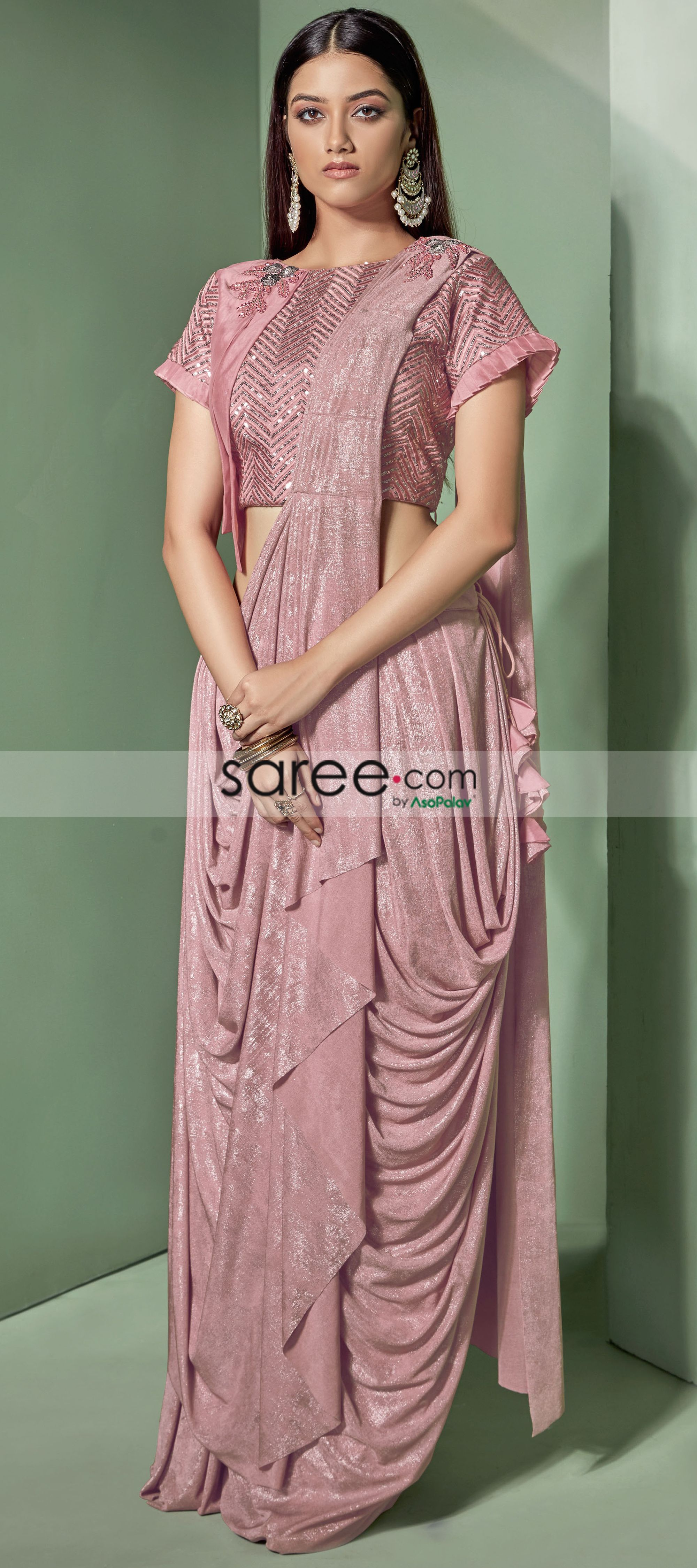 Pink Lycra Fancy Saree with Designer Blouse | Lehenga style saree, Party wear sarees, Party wear ...