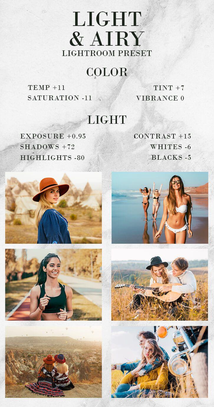 Free Lightroom Preset Mobile Preset Light & Airy in 2020