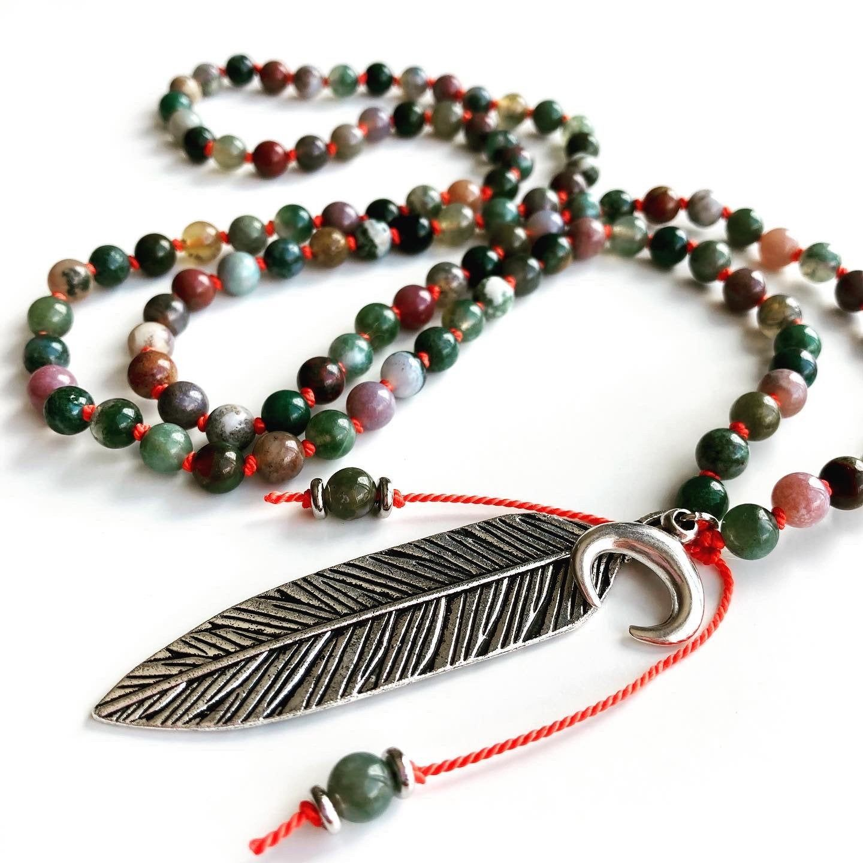 Yoga Jewelry Om Pendant Jade Mala Beads Buddhist Prayer Beads Pink Aventurine 108 Mala Necklace Meditation Beads Healing Energy