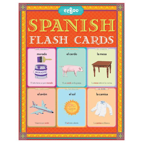 """Learning the basics of Spanish is a cinch with this set of 56 Spanish Flash Cards. Sturdy 4.5"""" x 6"""" cards teach basic vocabulary words grouped into 7 categories: nature, animals, clothing, colors, veh"""