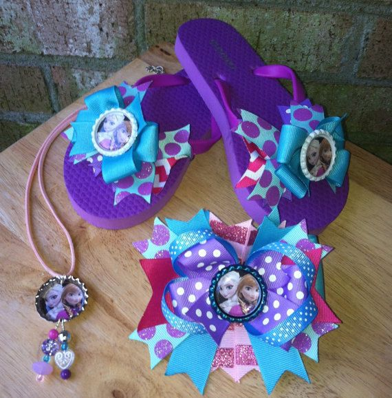 Frozen Bow Flip Flops, Necklace,  Hair Bow Set on Etsy, $25.00