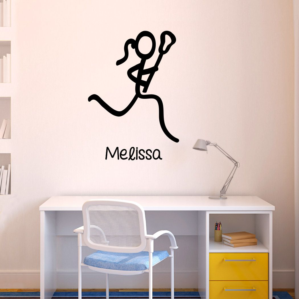 Girls Lacrosse Bedroom Wall Sticker Personalized Player Name
