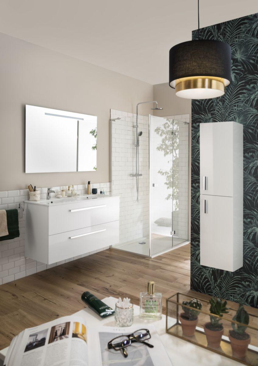 sanitaire meuble woodstock 120 cm 2 tiroirs blanc brillant