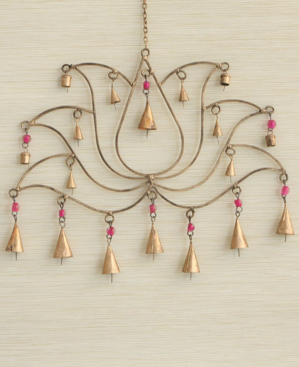 Fair Trade Pink Beaded Lotus Chime And Wall Art
