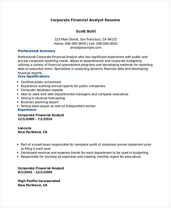 Financial Analyst Resume Extraordinary Corporate Financial Analyst Resume Sample 1  Financial Analyst