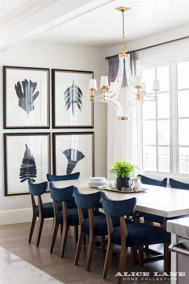 Navy And White Dining Room With Ombre Draperies