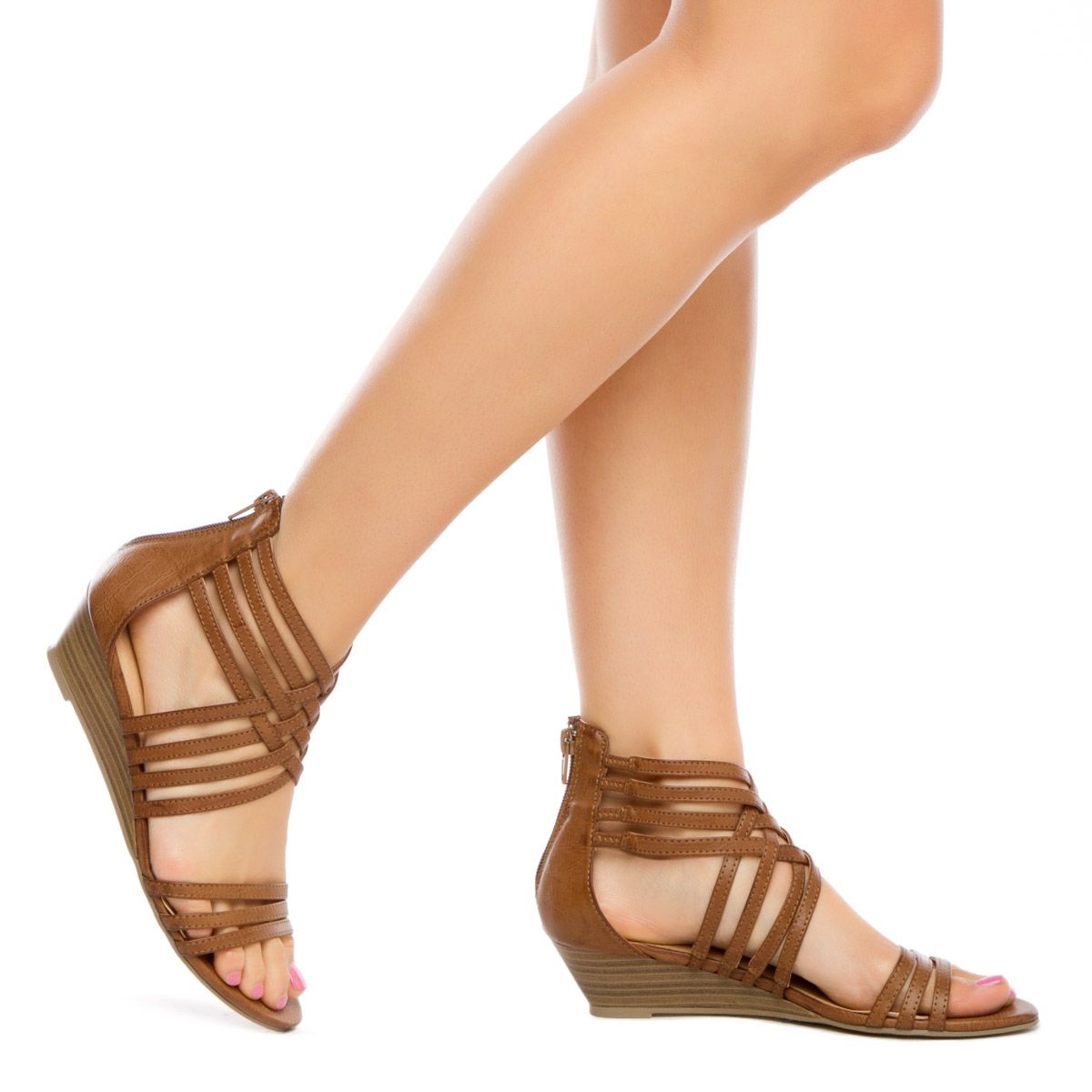Boho chic sandal gets a subtle boost from a stacked demi