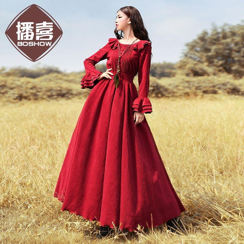 Free Shiping 2018 Boshow Women Vintage Cotton Corduroy Long Maxi Ruffles  Sleeve Dresses Spring And Autumn Gorgeous Dresses S-XL Review db3b9acbf5de