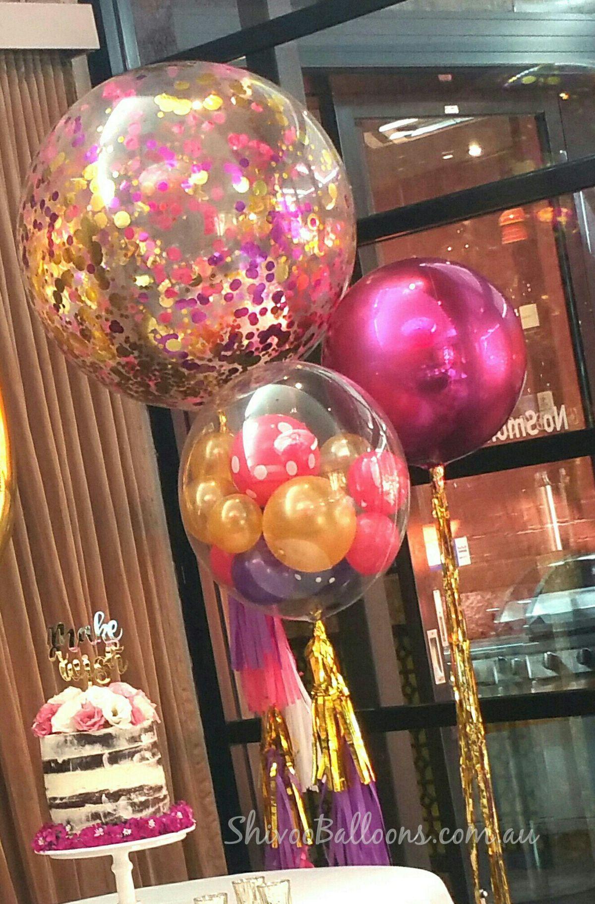 Confetti filled 3u0027 clear latex balloon pink Orbz