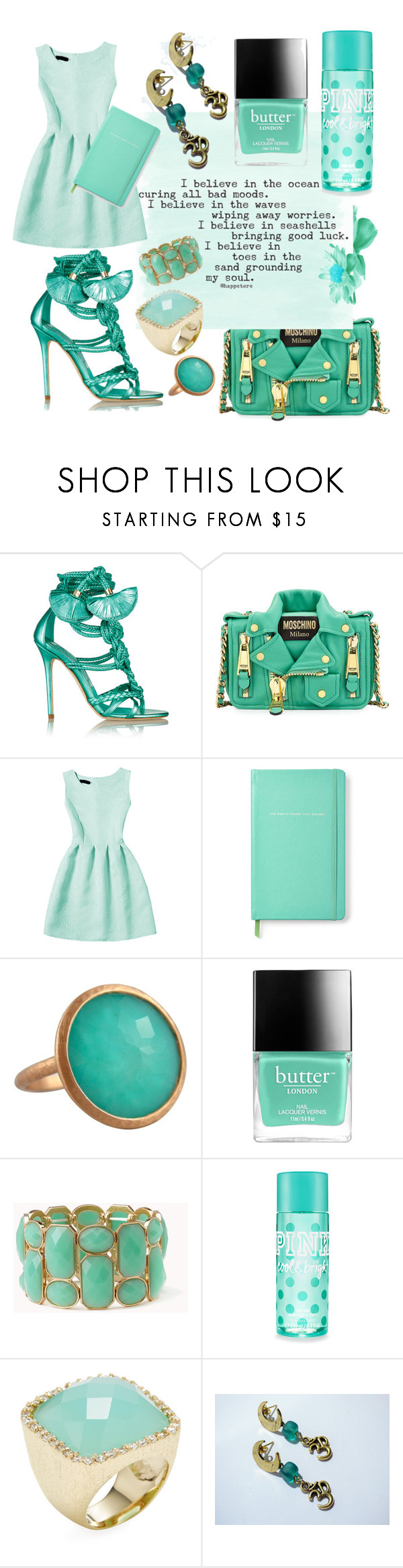"""""""Turquoise Vibes"""" by anagorozpe ❤ liked on Polyvore featuring Brian Atwood, Moschino, WithChic, Kate Spade, Jona, Butter London, Forever 21 and Rivka Friedman"""