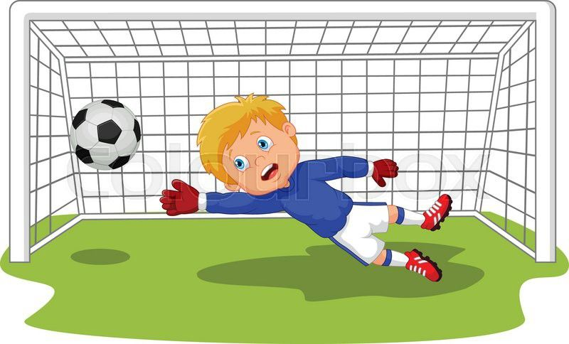 Vector Illustration Of Cartoon Soccer Football Goalie Keeper Saving Stock Vector Soccer Soccer Goalie Bunny Painting