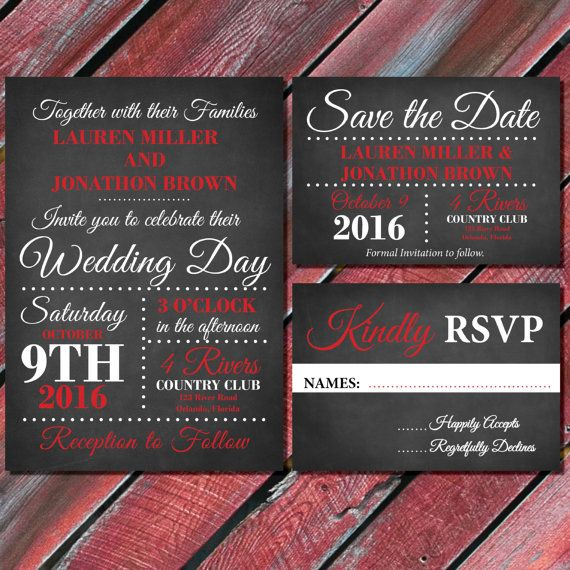 Red And Black Wedding Invitations Chalkboard