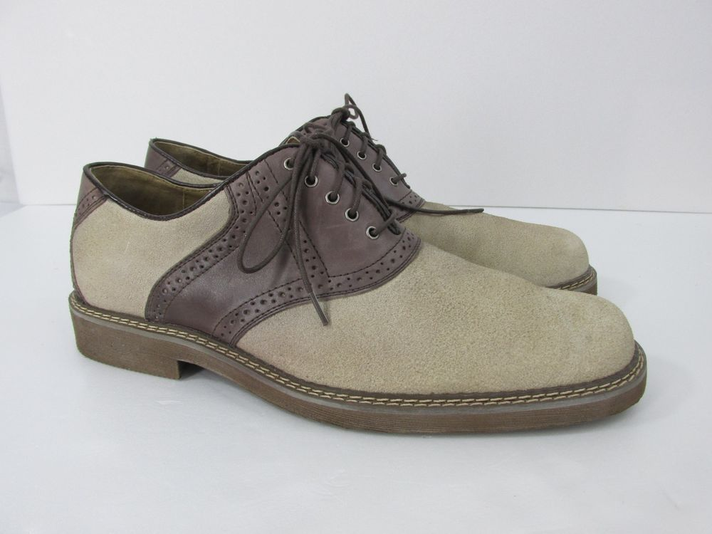 Men S Hush Puppies Saddle Shoe Taupe Brown Suede Bucks 9 5 M Hushpuppies Mens Hush Puppies Oxford Shoes Saddle Shoes
