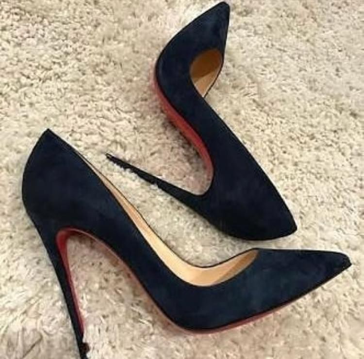 outlet store 045a3 344a2 Christian Louboutin Navy Blue Suede Pumps ...
