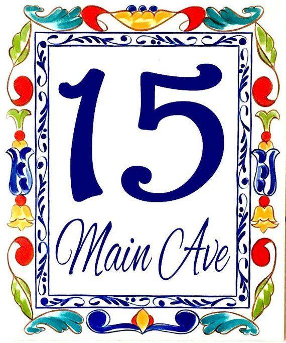 Vertical House Number Plaque Colorful Numbers Ceramic Tile Decorative Address Door Italian Porcelain Sign