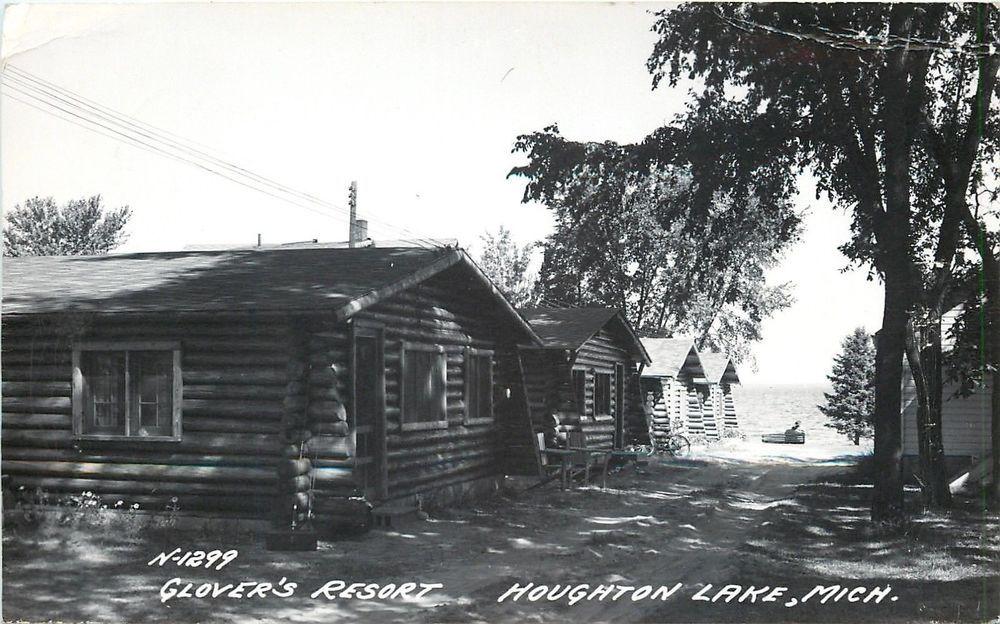 Houghton Lake Michigan~Gloveru0027s Resort~Log Cabin Row~Bicycle~1933 LL Cook