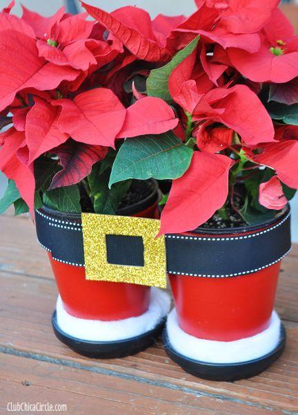macetas navideñas decoradas con pantalones de santa ~ solountip