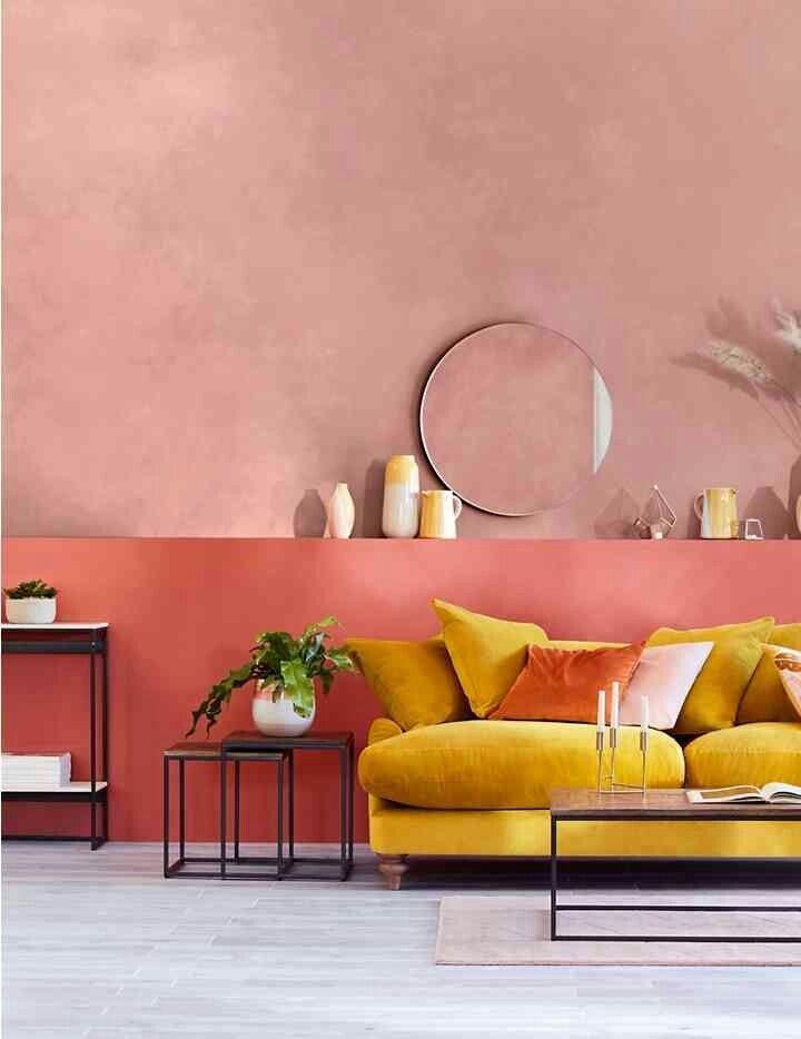 Blush Pink Walls With Mustard Yellow Velvet Sofa In 2020 Yellow Walls Living Room Yellow Living Room Yellow Home Decor
