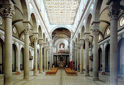 Church of San Lorenzo. Brunelleschi. 1419-1422. Piazza di ...