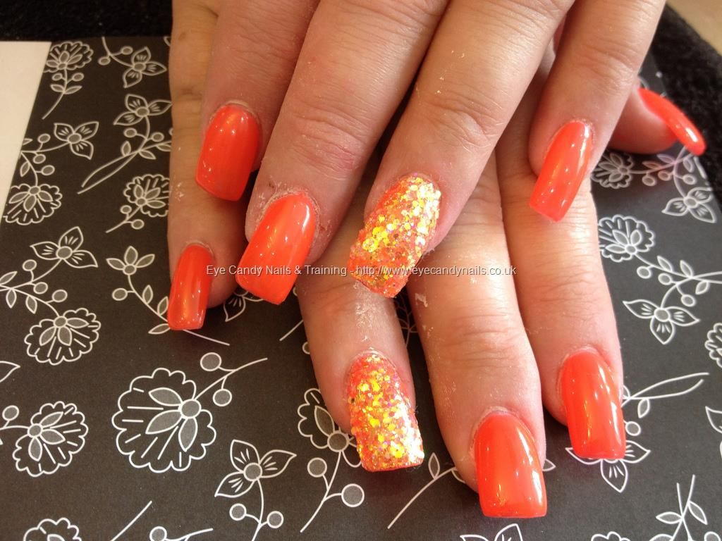 Acrylic nails with orange gel polish and glitter dust | Nail ...