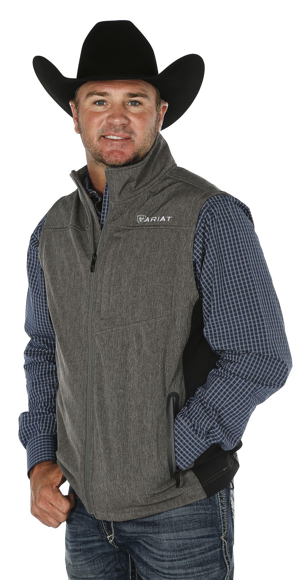 a3d19a2784d Men s Ariat Grey Softshell Vest