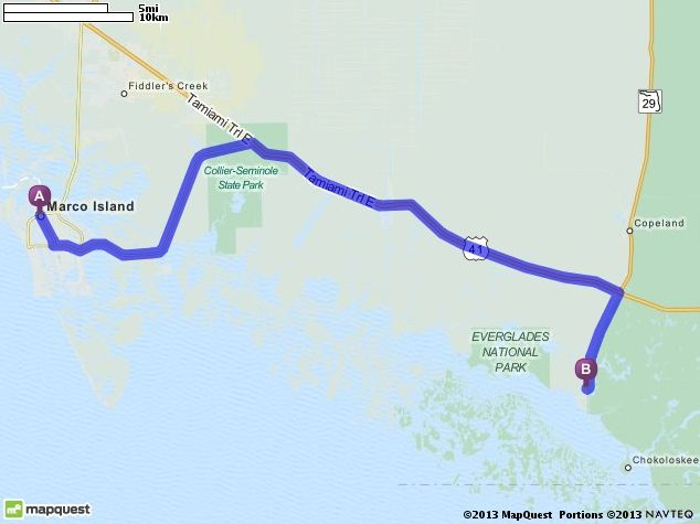 Driving Directions from Marco Island United States to Everglades