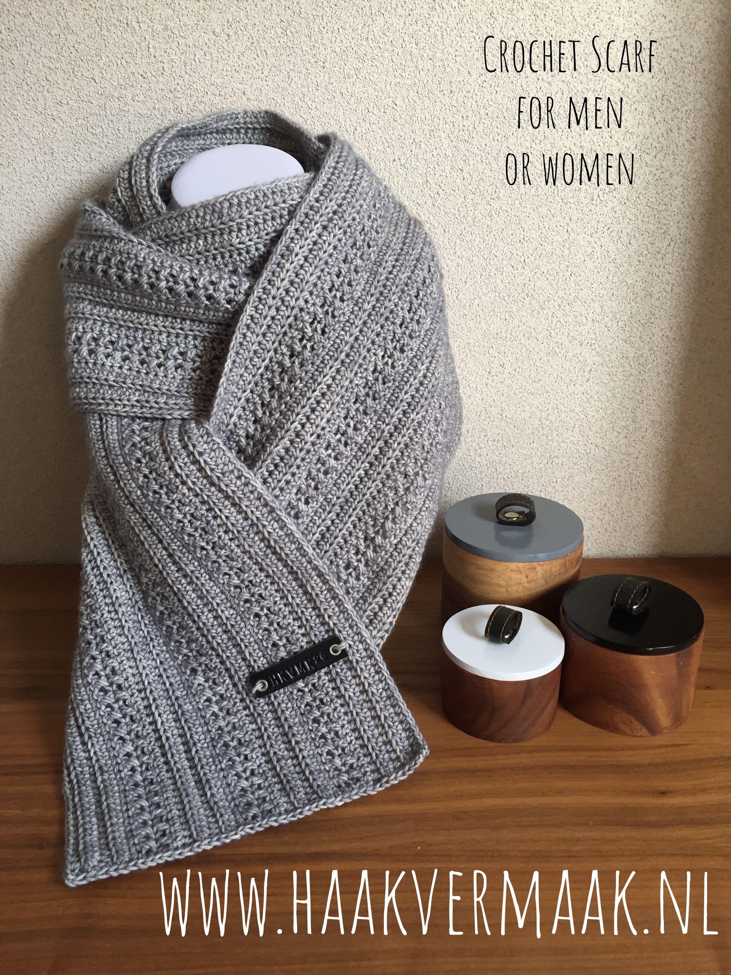 Gehaakte Sjaal Stoer Voor Zowel Mannen Als Vrouwen Patroon Van