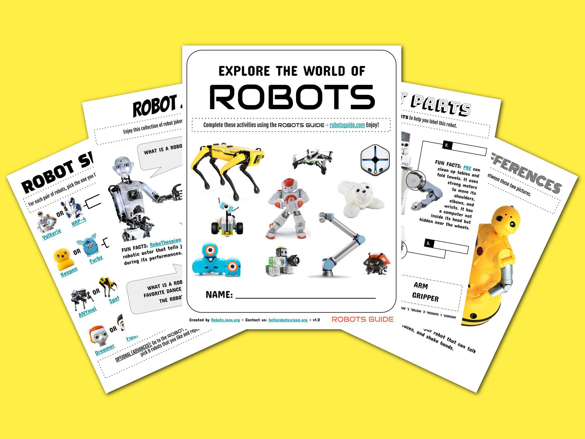 Robots Activity Sheets For Kids